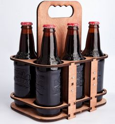 6 PACKER REUSABLE LASER CUT WOODEN BEER BOTTLE CARRIER Christmas gift for Rob?