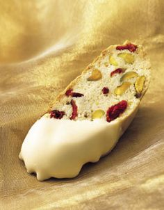 Christmas Biscotti ~ made with pistachios and cranberries and dipped in decadent white chocolate...