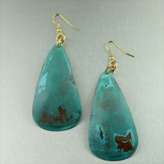 Blue Patinated Copper Earrings