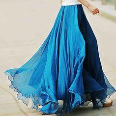 Bohemia Summer  Chiffon Flouncing Elegant Fashion  High Waist  Maxi Skirts for Women – USD $ 40.59