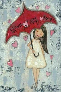 'Love' Whimsical Girl Canvas Reminds me of you grandma. Wish you were still alive to see this. Art Et Illustration, Illustrations, Art Fantaisiste, Art Carte, Umbrella Art, Art Journal Inspiration, Girl Inspiration, Heart Art, Whimsical Art