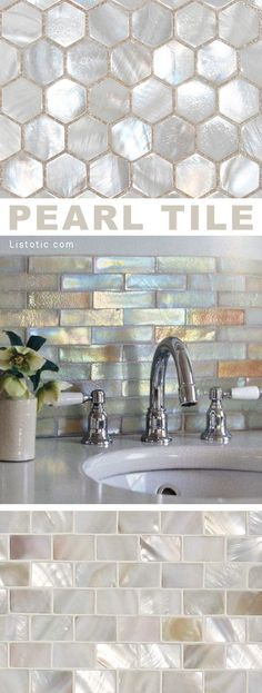 I LOVE pearl tile! Lots of gorgeous tile ideas for kitchen back splashes, master bathrooms, small bathrooms, patios, tub surrounds, or any room of the house! #homedecorideas