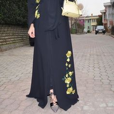 EID abaya with flower embroidery