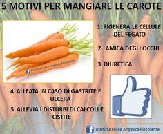 5 motivi per mangiare le #carote!!!  #salute #nutrizione #dieta #benessere