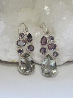 *Green Amethyst Teardrop Earring Set with Purple Amethyst