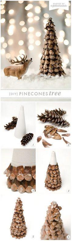DIY Pinecone Mini Xmas Tree.