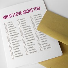"Sexy Valentine Card, For Man, ""What I Love About You"" (CLV-H009). $4.50, via Etsy."