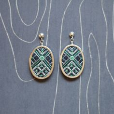 Gatsby Cross Stitch Earrings Oval Emerald by TheWerkShoppe on Etsy, $63.00