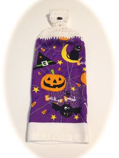 Purple Halloween Hand Towel With White by MeAndMomsCrafts on Etsy
