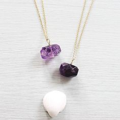 New! Light and dark amethyst nugget necklaces recently got added to Moontidejewels.com!