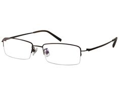 f9d3a607eae Ebe Bifocal Men Stainless Steel Half Rim Reading Glasses Brown Feather Light