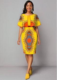 Dresses online for sale Short African Dresses, Latest African Fashion Dresses, African Print Dresses, African Print Fashion, Women's Fashion Dresses, African Dress Styles, Cape Sleeve Dress, African Attire, Look Fashion