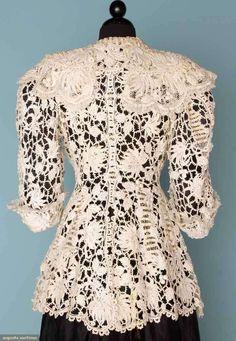 Edwardian White Lace Jacket, c. 1905