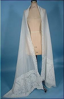 c. 1810 - 1820 Early 19th Century Ayrshire Embroidered Whitework Muslin Stole! Regency Shawl!