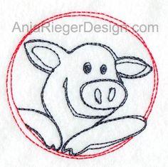 Maschinen Stickdatei Schweinchen mit Aussicht 2