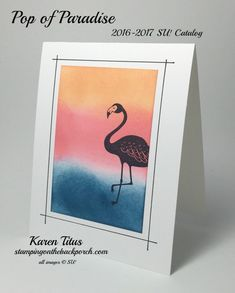 handmade card by Karen Titus ... one layer ... panel of background paper created with the sponging technique ... flamingo stamped in black ... like the hand drawn frame lines ... Stampin' Up!