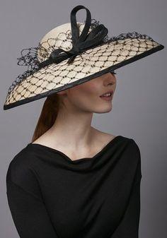 Rachel Trevor Morgan Millinery Natural fine straw hat with black veil and twist Rachel Trevor Morgan, Sombreros Fascinator, Fascinator Hats, Fascinators, Stem Challenge, Hats For Women, Clothes For Women, Occasion Hats, Kentucky Derby Hats