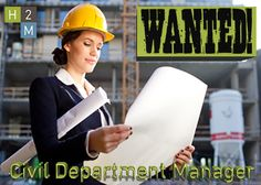 WANTED! Civil Department Manager 10-15 years of experience, Location: Parsippany, Job Description: Oversee and manage the NJ Civil Engineering Team. Work with firm management to establish and execute financial performance goals. Create a departmental structure that enables the civil engineering group to operate effectively in various markets. For more visit h2m.com/careers