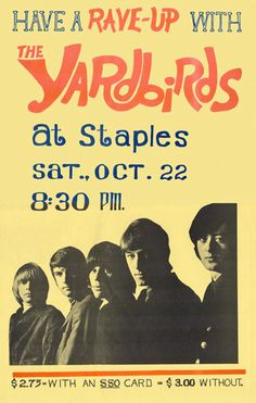 Keith Relf of The Yardbirds, Yardbirds concert poster, 1966 source Tour Posters, Band Posters, Led Zeppelin, Mundo Musical, Vintage Concert Posters, Vintage Posters, The Yardbirds, Vintage Rock, Rock Concert