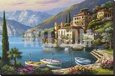 Beautiful 'Villa Bella Vista' by Sung Kim - Graphic Art Print by Great Big Canvas Wall Art Decor from top store Painting Prints, Wall Art Prints, Poster Prints, Canvas Wall Art, Big Canvas, Painting Trees, Deco Panel, Portrait Pictures, Stretched Canvas Prints