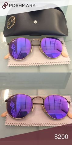 PURPLE FLASH RAYBANS In near perfect condition. Super cute and trendy Ray-Ban Accessories Sunglasses