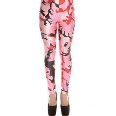 Multi pink camo print elastic waist skinny leggings ($18) ❤ liked on Polyvore featuring pants, leggings, blackpink, white skinny pants, camouflage leggings, camo leggings, skinny leggings and white leggings