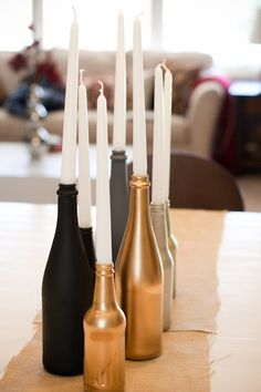 well, I do have a lot of empty wine bottles around. Different colors though Empty Wine Bottles, Bottle Candles, Glass Candle Holders, Diy Candles, Centerpieces With Wine Bottles, Glass Bottles, Diy Bottle, Bottle Crafts, Noel Christmas