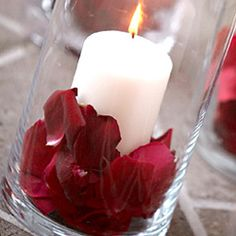 Candle with red rose petals