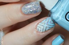 Feeling the Monday blues? You're not alone! So here's a video on how to create this stunning blue and silver glitter nail design by NailsbyErin to wash off   Nail Designs