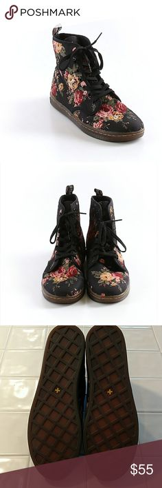 Dr. Martens Floral Shoreditch Black Roses Excellent condition. Not leather, canvas-like fabric material. US women's 10, EU 42. All pictures are of the actual item that you will receive. Smoke-free home. Dr. Martens Shoes Combat & Moto Boots
