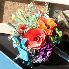 recycled book pages bouquet