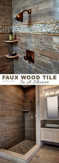 Wood tile in a shower! So rustic and pretty... Lots of beautiful and creative tile ideas for kitchen back splashes master bathrooms small bathrooms patios tub surrounds or any room of the house!