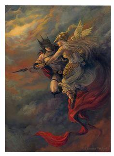 Athena and Ares Greek Goddess God Mythology ACEO by bytheoakArt, $4.00