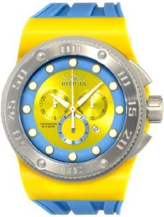 Invicta 12321 Mens Akula Chronograph Stainless Steel Case Rubber Bracelet Blue and Yellow Dial Watch *** Details can be found by clicking on the image.