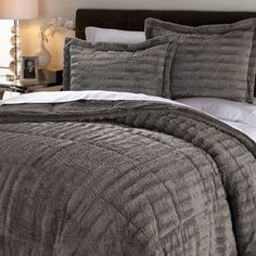 Concierge Collection Long Faux Fur Comforter Set Gray Full Queen New #ConciergeCollection