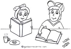 Mewarnai Gambar Anak Membaca Buku