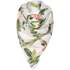 Ted Baker Arorra secret trellis silk square scarf ($125) ❤ liked on Polyvore featuring accessories, scarves, white, white scarves, square silk scarves, ted baker, white silk scarves and floral shawl