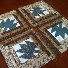 Finished four more maple leaf login cabin blocks. That makes 20 of 64. #itsgrowing #quilting #canIfinishbyfall?