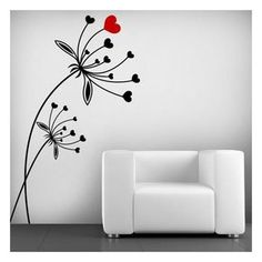 If you like decoration with a romantic touch, at Vinilos Casa ® we offer you this original decorative or adhesive … Simple Wall Paintings, Creative Wall Painting, Wall Painting Decor, Creative Walls, Bedroom Murals, Bedroom Wall, Wall Murals, Decoration, Art Decor