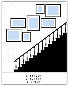 Incredible Wall Gallery Ideas For Perfect Wall Decor: Best Ideas - Dekoration Verden Stairway Gallery Wall, Stair Gallery, Gallery Wall Layout, Picture Frame Arrangements, Photo Arrangement, Staircase Wall Decor, Staircase Design, Stairwell Wall, Stairway Walls