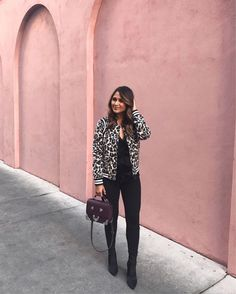 Last night's look for dinner at The Old Pink House with @visitsavannah! I'm obsessed with this leopard print bomber from @parkernewyork and my new sleek sock booties! However, I don't recommend wearing socks under your sock booties because I feel like they cut off the blood circulation in my feet!  @liketoknow.it http://liketk.it/2tcgN #liketkit