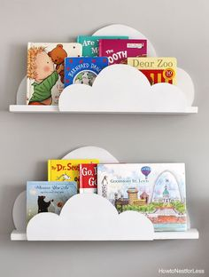Make sure you follow me on Instagram and Pinterest for a sneak peek into my recent projects! My favorite project from my nephew's bedroom are his new new DIY cloud bookshelf ledges. We basically took the same idea from the bookshelf ledges in Ellie's bedroom, just put a fun twist on it! My sister first spotted something like this …