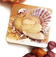 TURKEY WILD SOAP, Thanksgiving, Lets Talk Turkey, Burnt Amber, Copper, and Cream, Scented in Cornucopia, Handmade, Vegetable Based