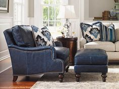 The Amelia leather chair from Lexington Home Brands is a cozy two piece set that is seen here in an appealing shade of navy. New Living Room, Living Room Chairs, Living Room Decor, Decor Room, Small Living, Blue Leather Couch, Leather Chairs, Black Leather, Leather Ottoman