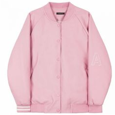 HIDE AND SEEKFaux Leather Varsity Jacket | MIXXMIX ($75) ❤ liked on Polyvore featuring outerwear, jackets, embroidered leather jacket, pink jacket, bunny jacket, college jacket and teddy jacket