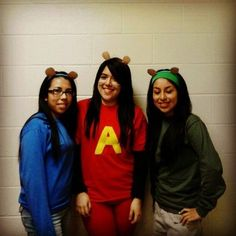 "Alvin and the Chipmunks is a great idea for a trio.  What you need to do: Dress up in red, blue, and green, and cut out the letter ""A"" from yellow paper to stick on the red outfit. Make some ears, and you'll be crooning in a high pitch in no time.  Source: Instagram user vianeyisaaa"