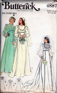 70s Vintage Dress pattern Butterick 4887 Wedding & Bridesmaid gown                          I used to make wedding gowns. I made this one for someone, Can't remember who?