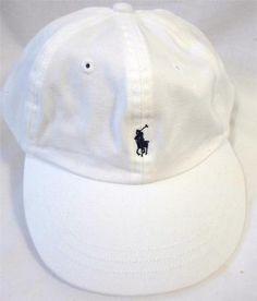 1a79bdf6a3e POLO RALPH LAUREN Women s Child s Baseball Cap Hat WHITE Navy PONY  Adjustable