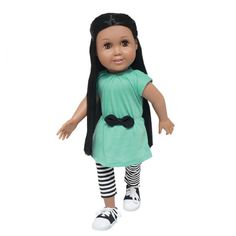 "Have fun anywhere with this, short-sleeve,aqua tunic with elastic fitted waist and black and white striped capri leggings. Tunic has hook-and-loop closure in back.  Fits most 18"" dolls like American Girl.  Doll & Shoes Not Included"
