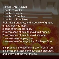 FLOAT TRIP drink #2- trash can punch!!  Ummmmm.... YES!